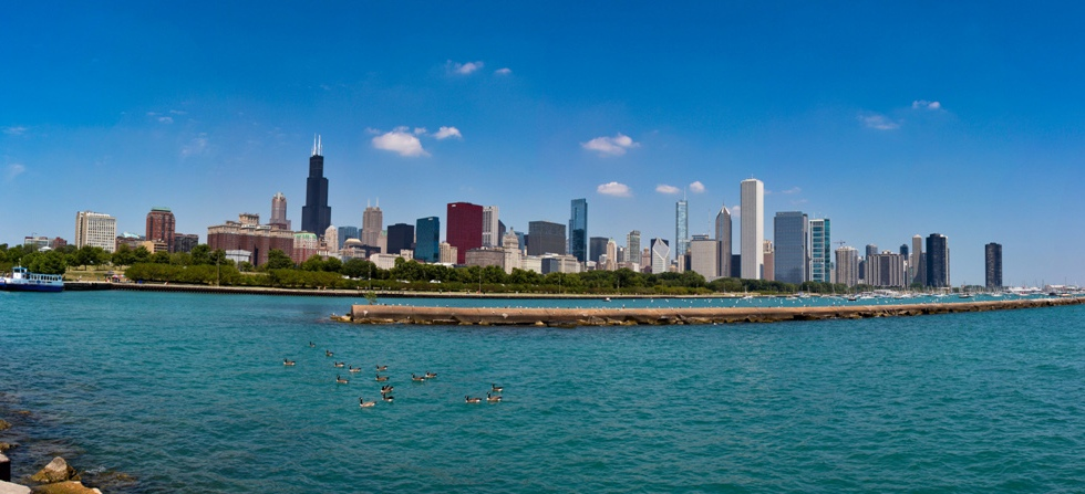 Chicago city skyline panorama