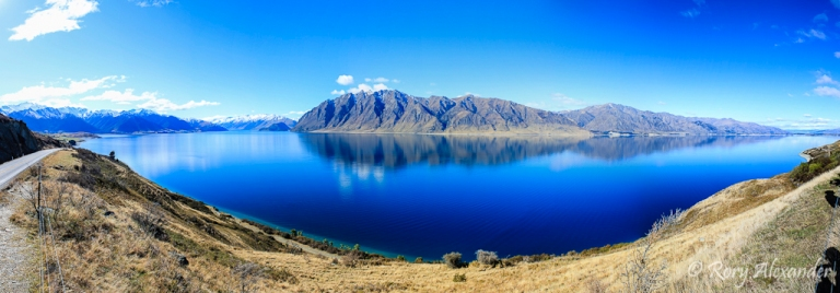 Panorama of Lake Hawea in New Zealand