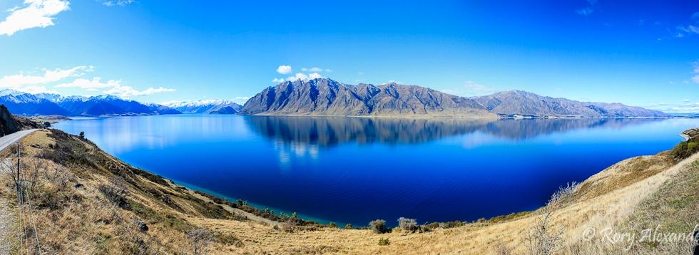 Panorama of Lake Hawea in New Zealand