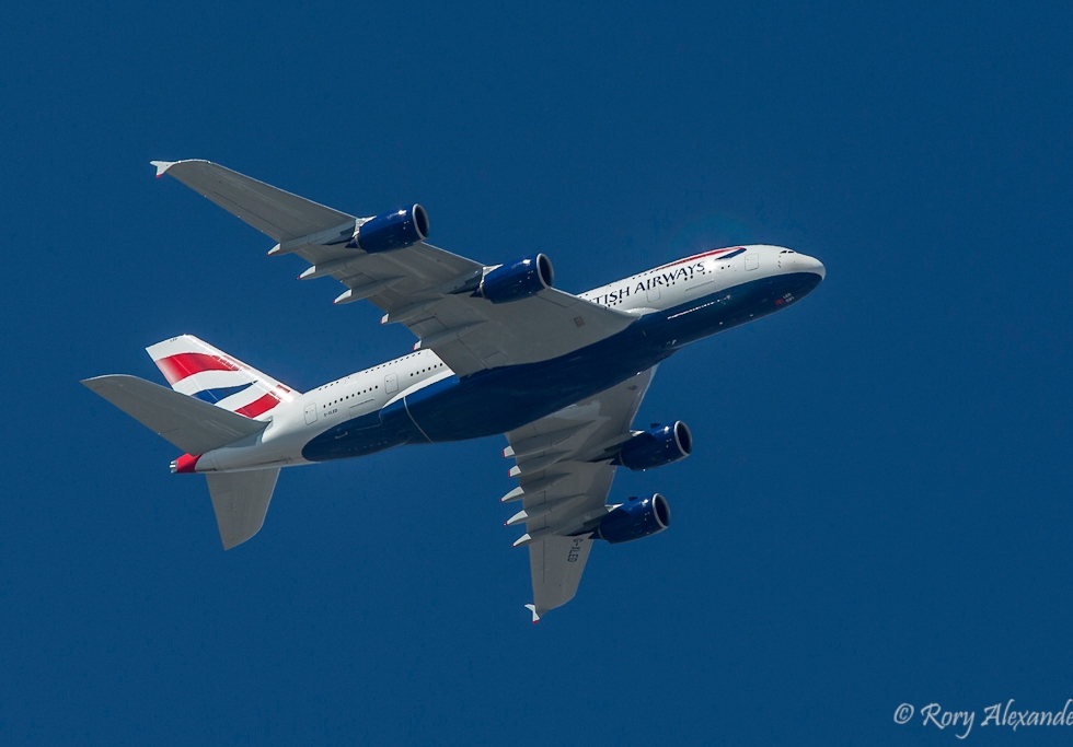 British Airways A380 over Cape Town