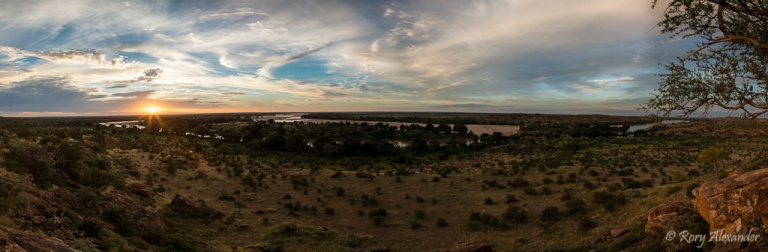 Confluence of the Limpopo and Shashe Rivers at Sunset in Mapungubwe National Park