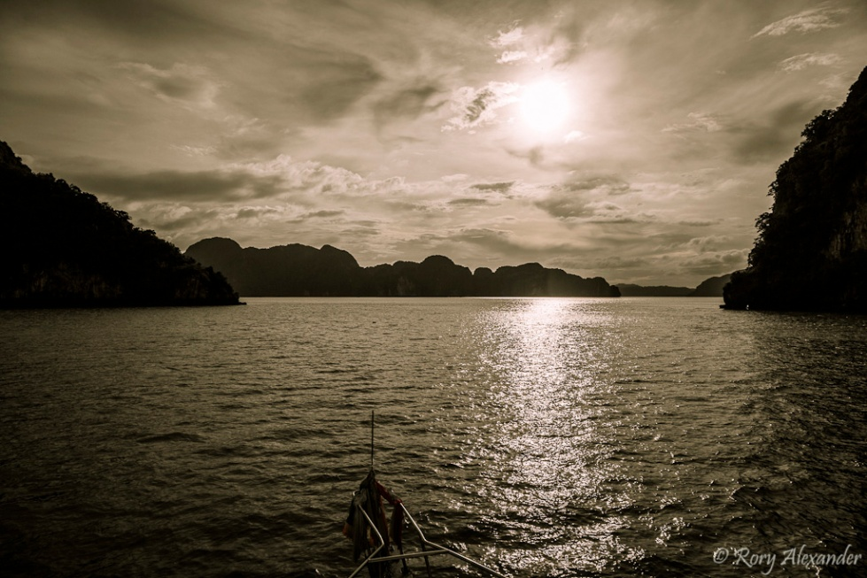 Sunset over Phang Nga Bay Phuket Thailand